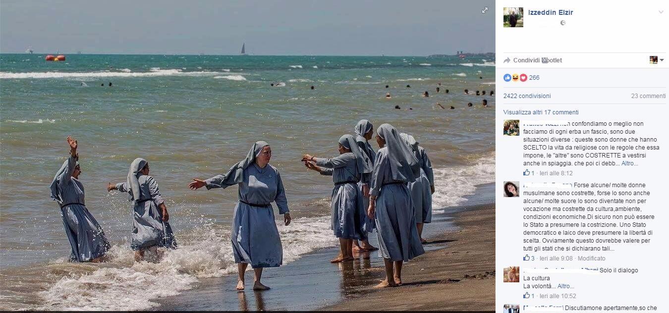 Burkini, pubblica la foto di suore al mare su Fb: per ore bloccato il profilo dell'imam di Firenze