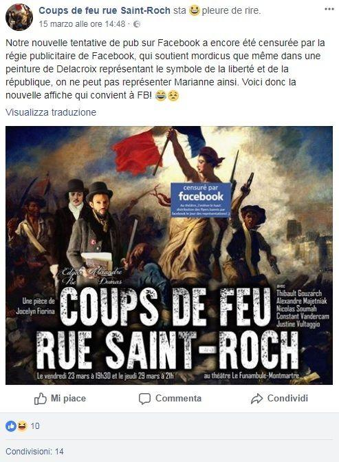 Facebook censura la Libertà di Delacroix e poi si scusa