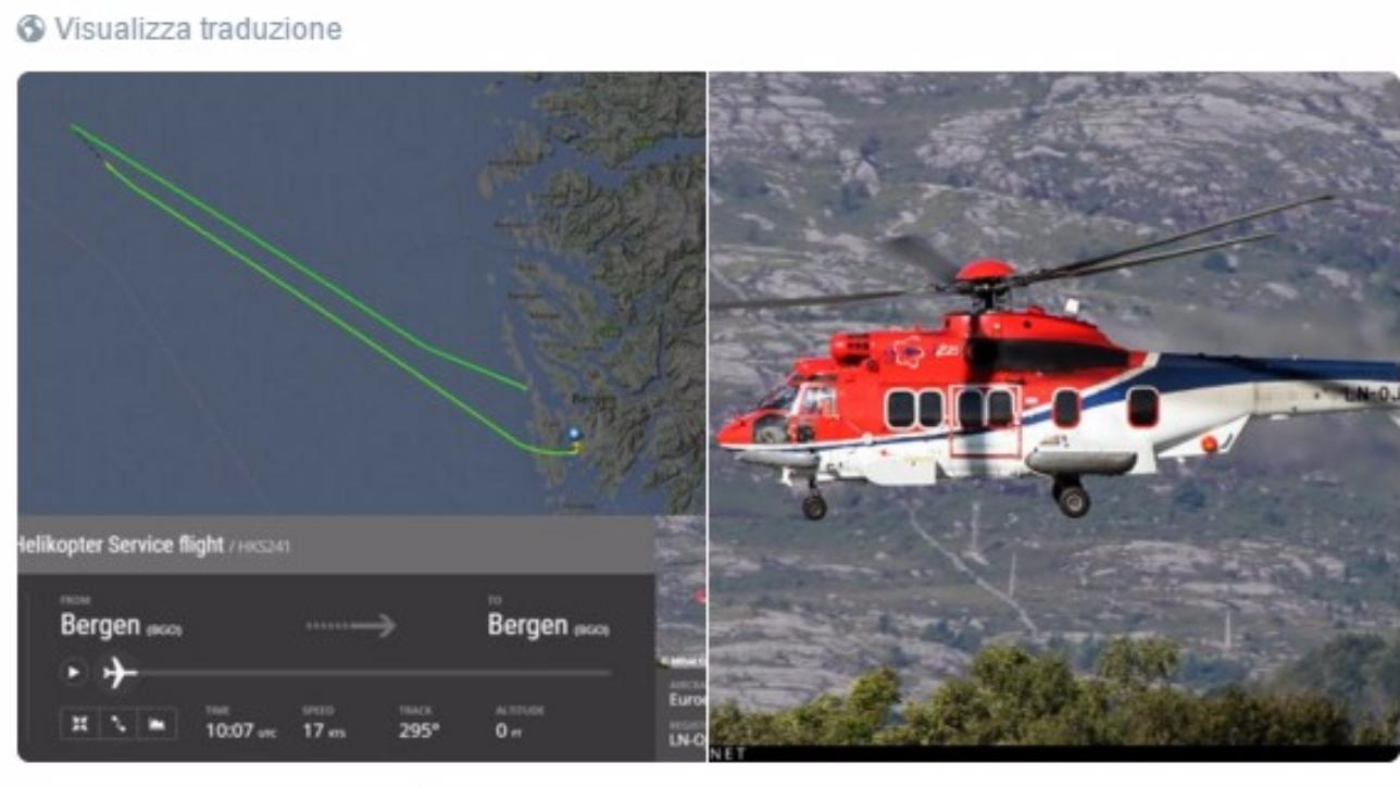 Elicottero Mediaset : Norvegia precipita un elicottero con persone a bordo