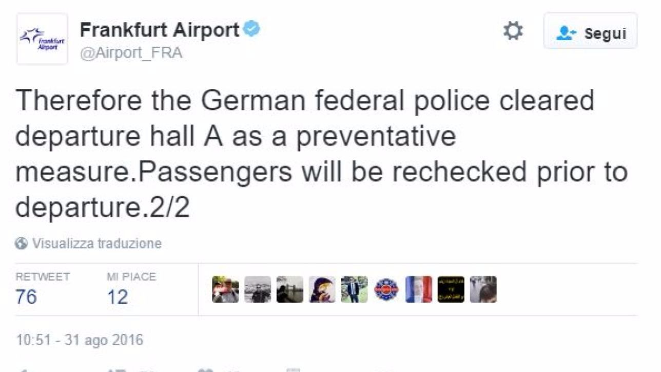 Francoforte, evacuato aeroporto per un allarme bomba