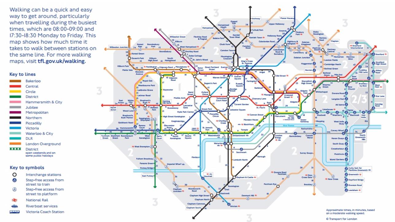 Londra, la nuova mappa della metro che invita ad andare a piedi