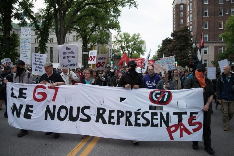 Canada proteste in strada in vista del G7 area del summit off limits