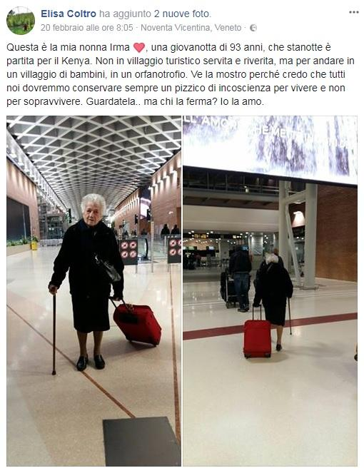 Nonna Irma parte per fare la missionaria in Kenya: ha 93 anni