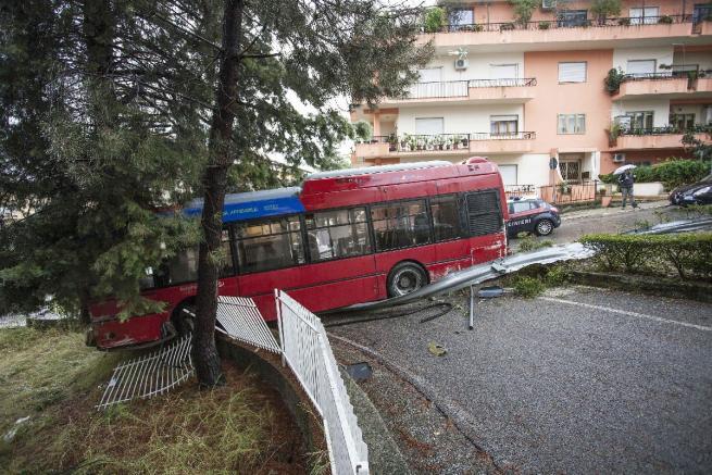 Autobus con freni rotti, conducente ferma la corsa del mezzo contro un albero