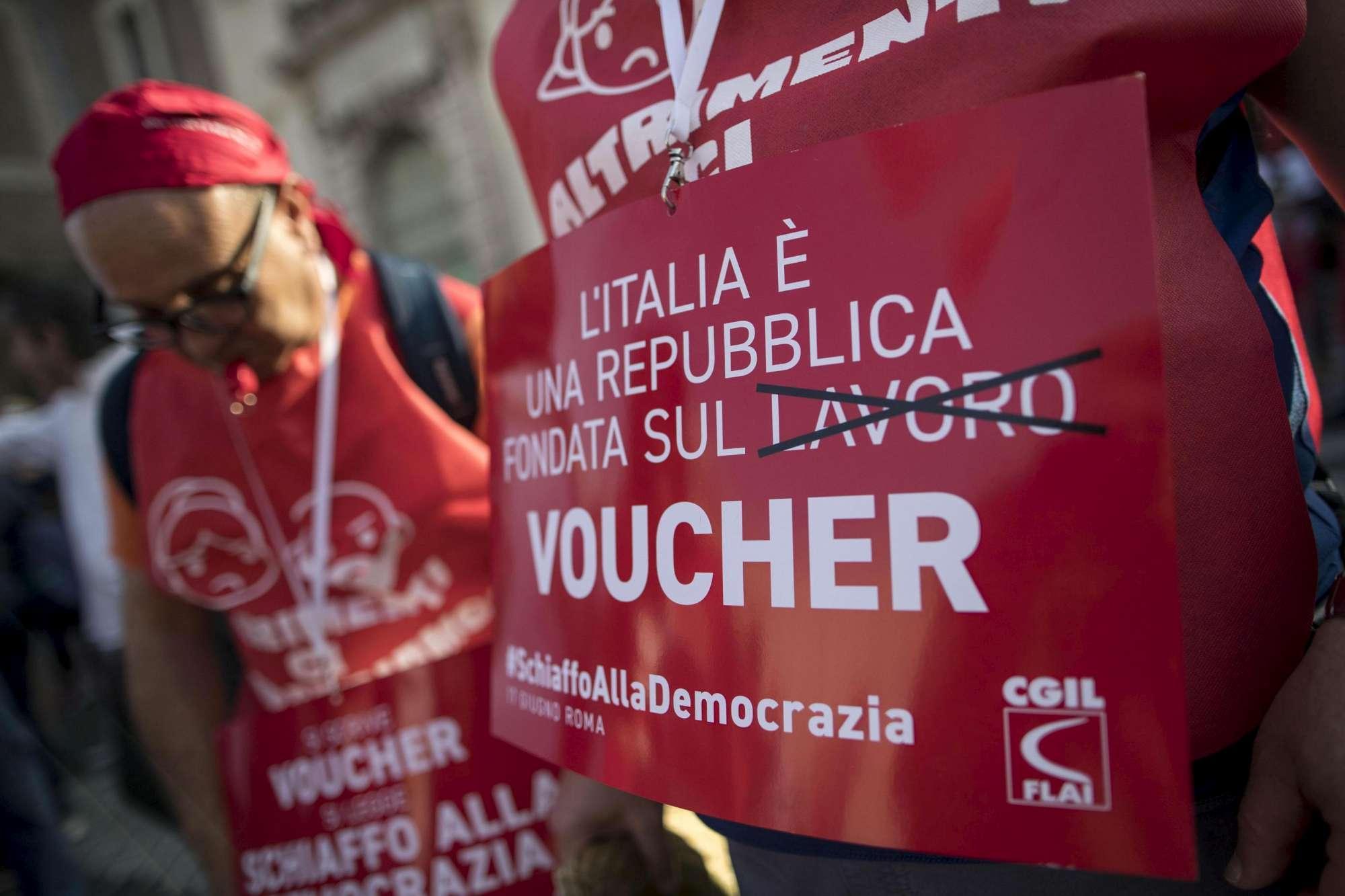 Contro i nuovi voucher Cgil in piazza a Roma