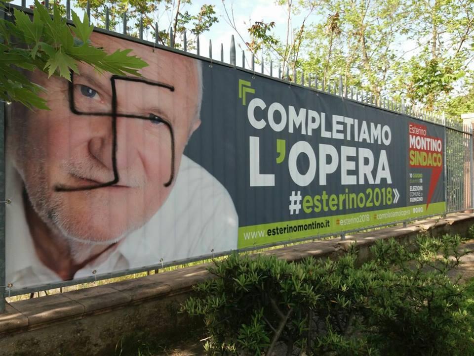 Svastiche sui manifesti del sindaco di Fiumicino, Montino: