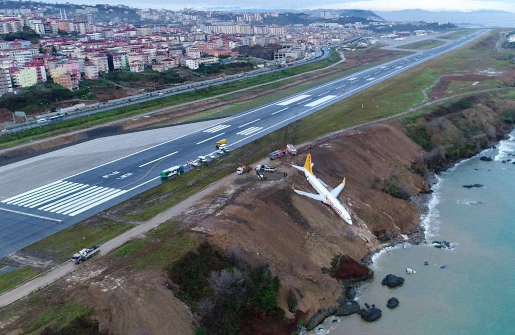 L'aereo esce fuori pista e si ferma a pochi metri dal mare