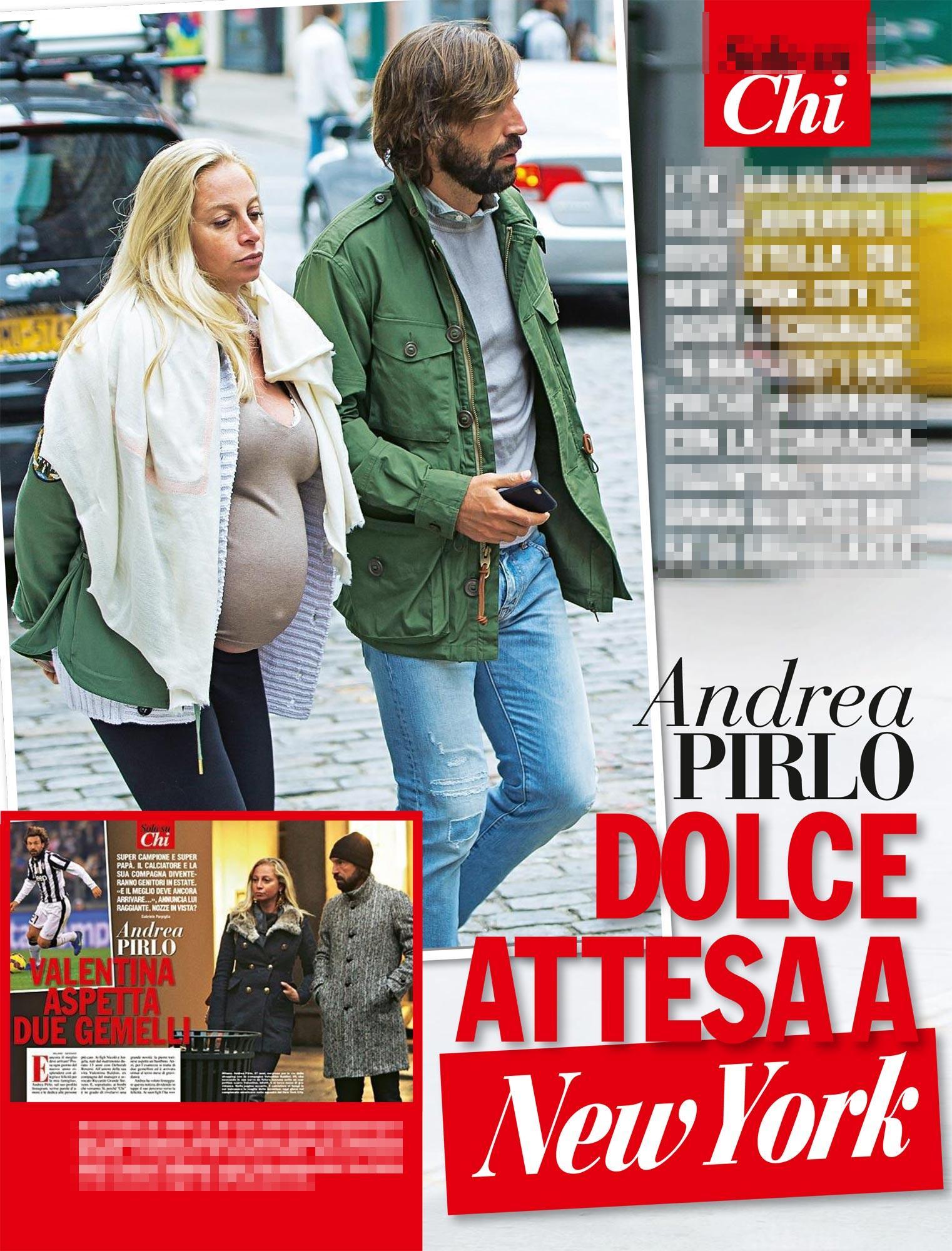 Andrea Pirlo a spasso col pancione - Foto Tgcom24