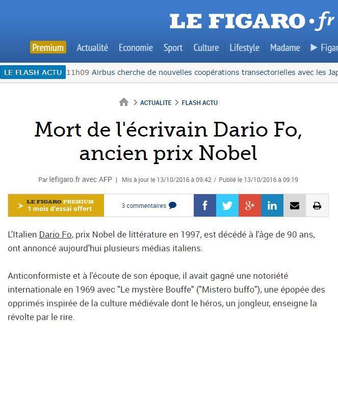 Dario Fo è morto, la notizia sui siti stranieri