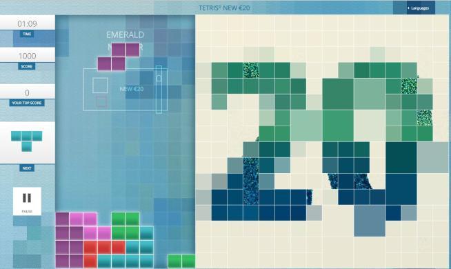 La Bce rilancia Tetris per promuovere la nuova banconota da 20 euro