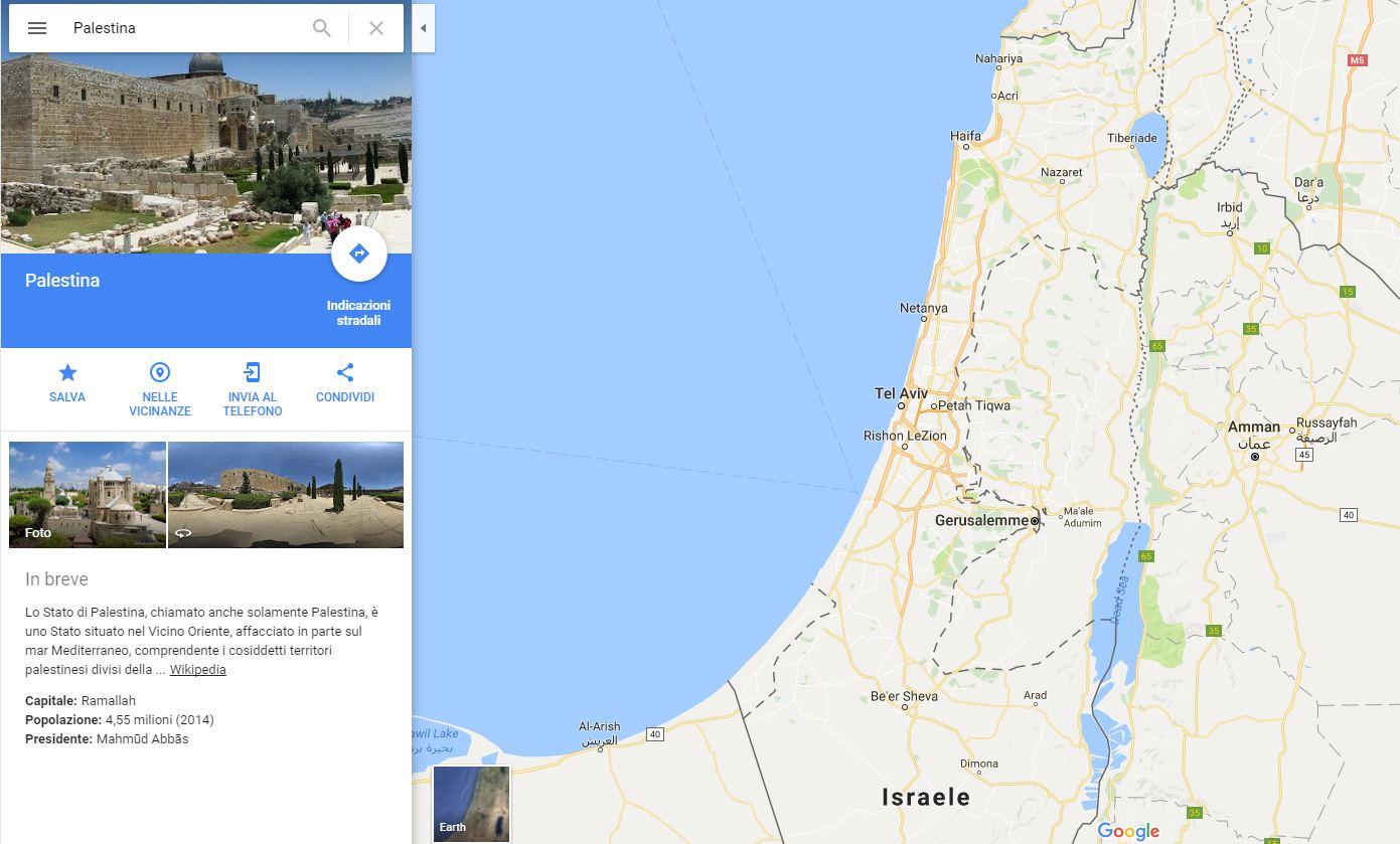Antibufala: Google ha cancellato la Palestina da Google Maps