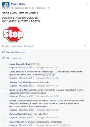 """Radio Maria, stop agli """"amen"""" nei commenti su Facebook, ma sulla rete scatta l'ironia"""