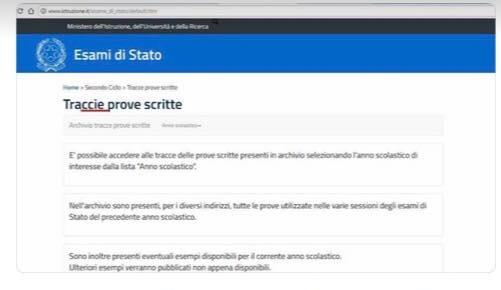Maturità: errore sul sito del Ministero, traccie con la