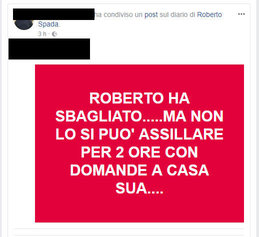 #iostoconspada, su Facebook i sostenitori dell aggressore