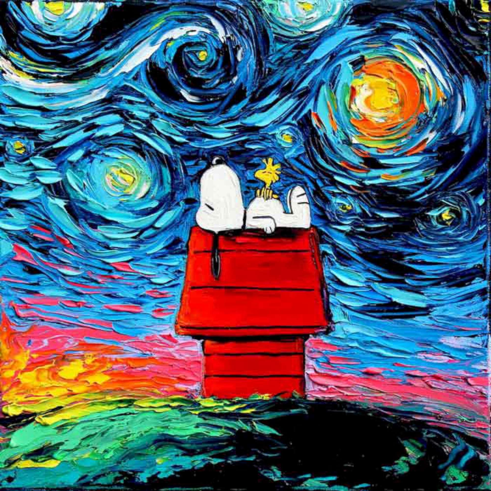 Artista americana aggiunge i personaggi dei cartoni ai for Disegni da colorare di van gogh