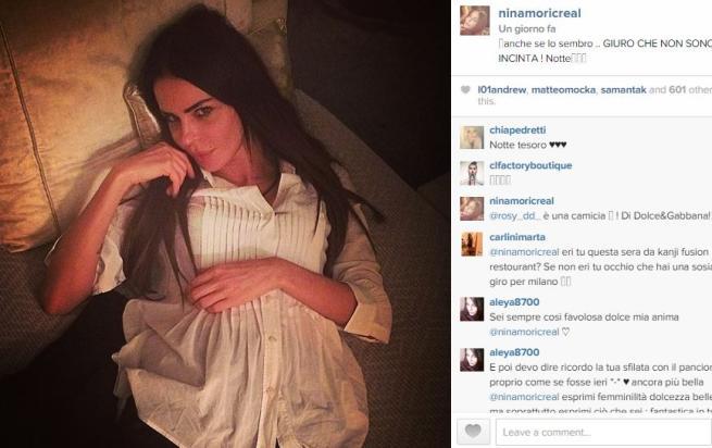 """Nina Moric: """"Sembro, ma non sono incinta"""""""