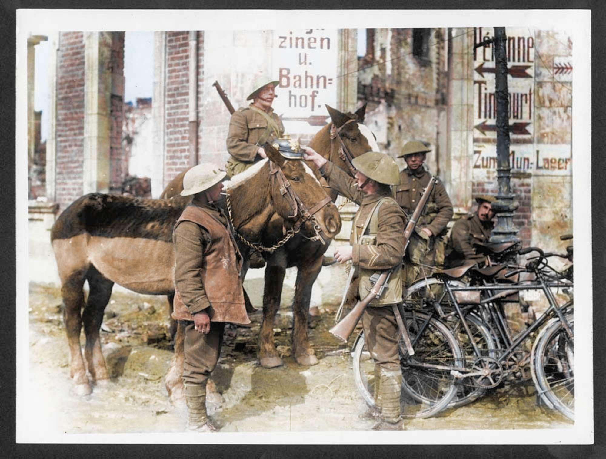 Non solo soldati, le foto a colori degli animali impiegati nella Prima guerra mondiale