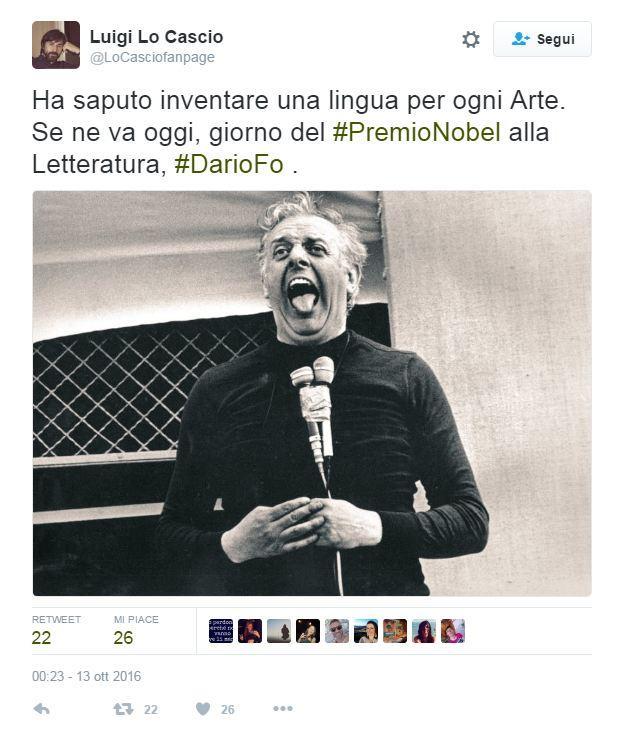 Dario Fo, l addio dei vip su Twitter