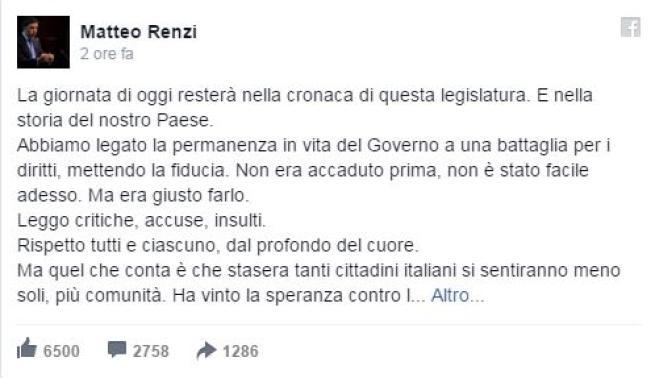 Il Senato approva le unioni civili Verdini vota sì, FI: Renzi salga al Colle