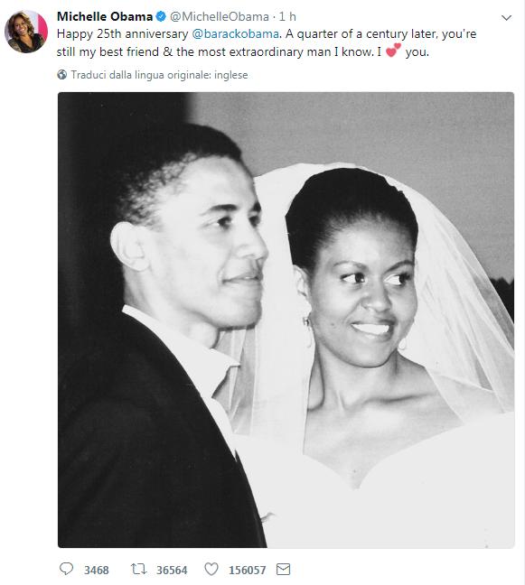 Nozze d'argento per gli Obama. L'amore di Michelle per Barack:
