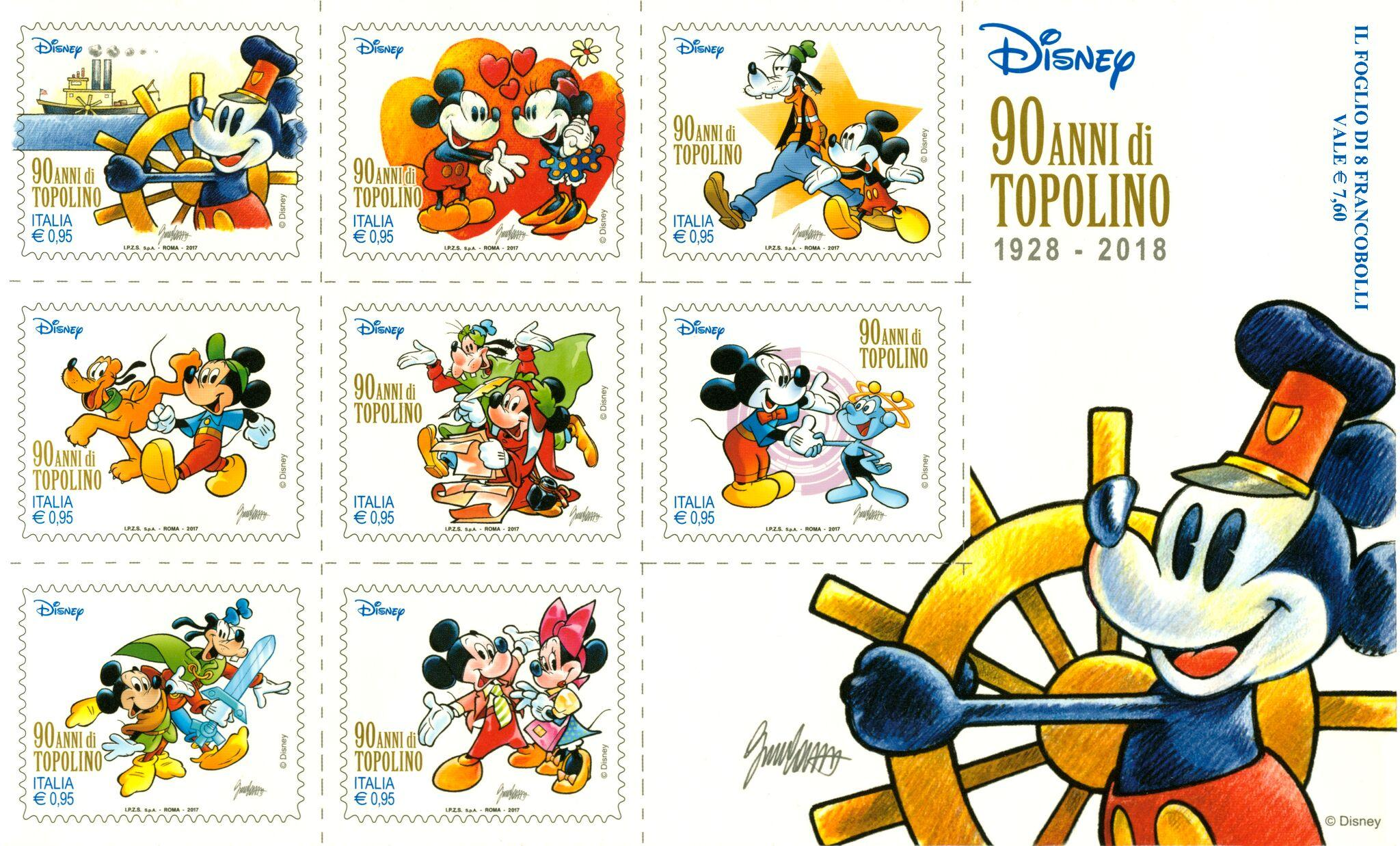 Topolino, otto francobolli dedicati al topo più famoso al mondo