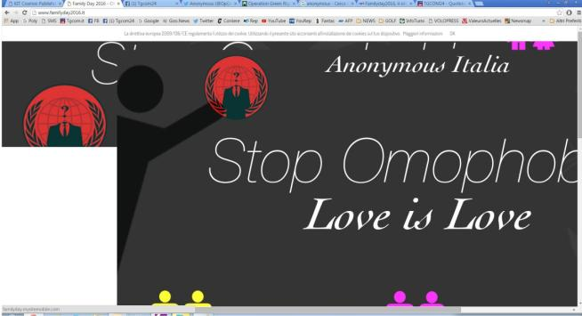 """Family Day, Anonymous hacker il sito: """"Rispettate ogni tipo di famiglia"""""""