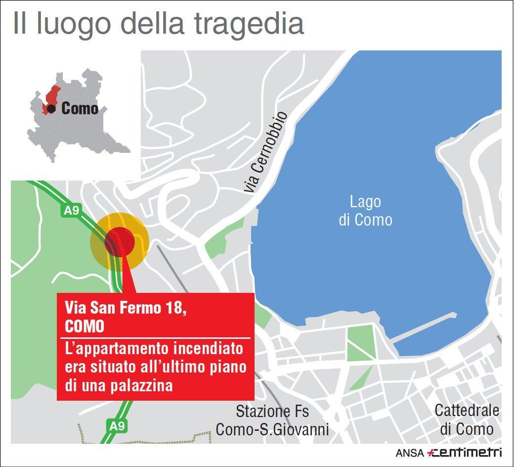 Como: il luogo dell incendio in cui sono morti un uomo e le tre figlie