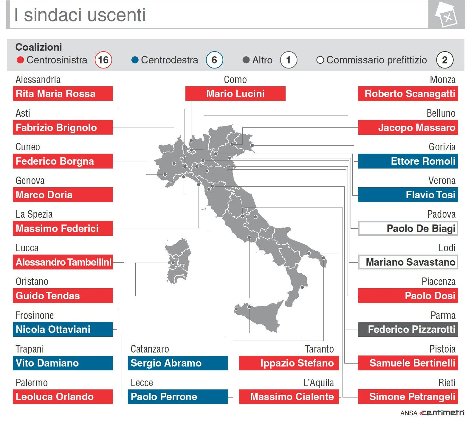 La mappa prima del voto: sindaci e amministrazioni uscenti