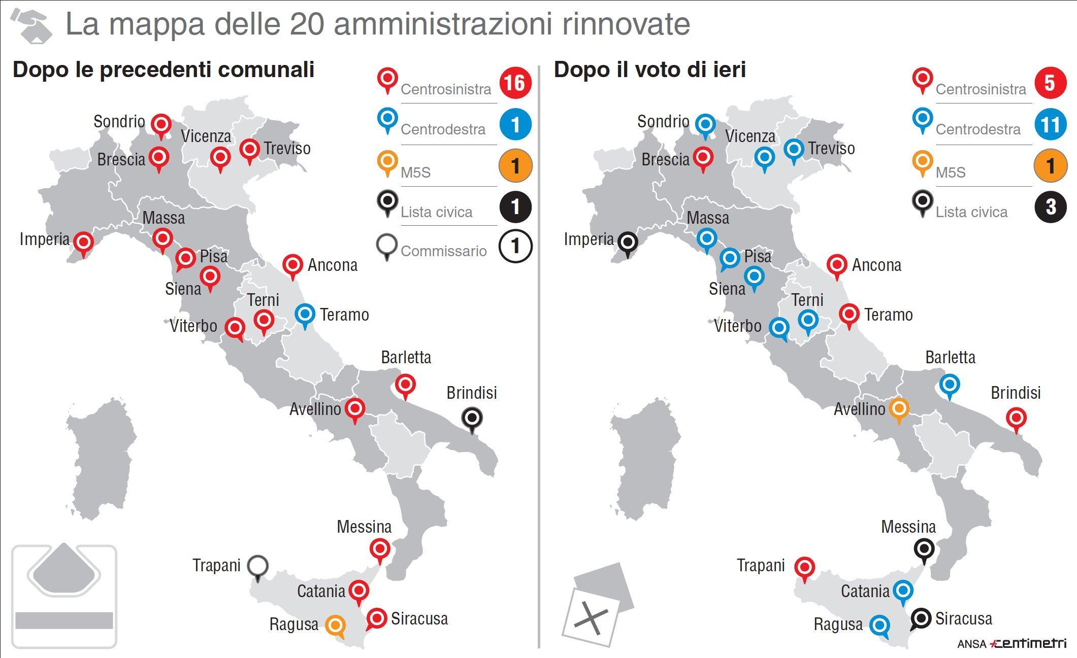 La mappa prima e dopo il voto