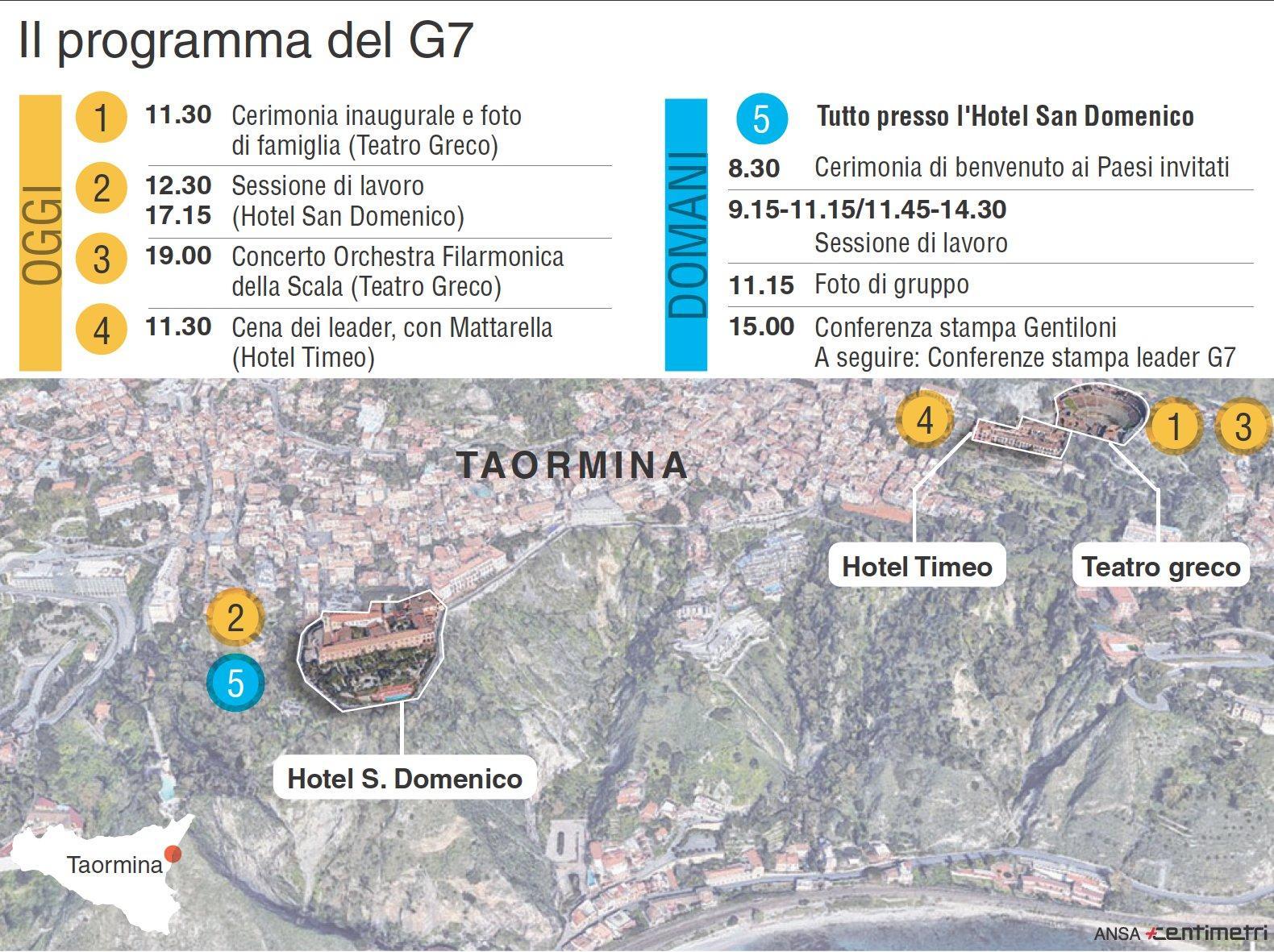 Il programma del G7 a Taormina