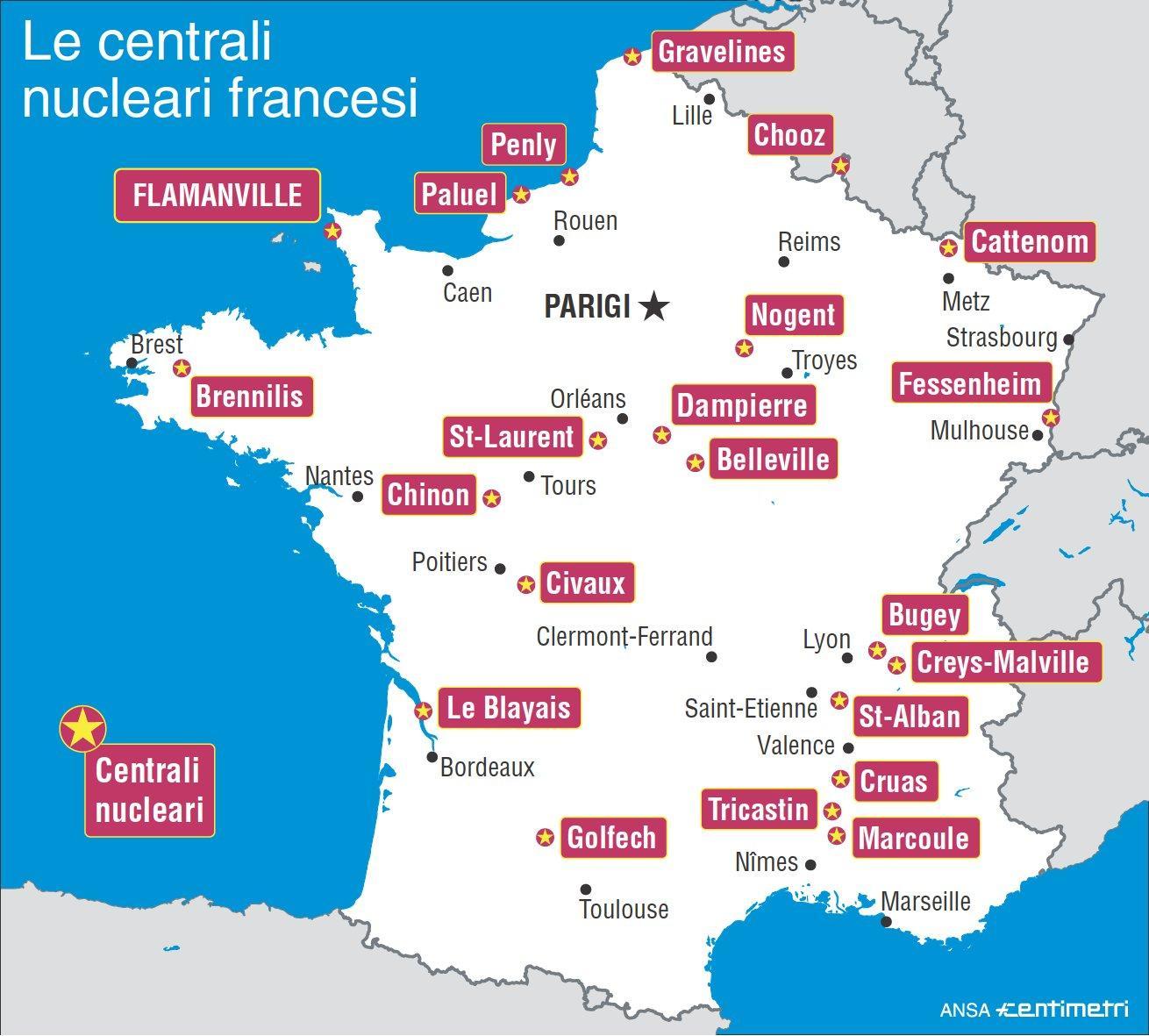 Francia Tutte Le Centrali Nucleari Nel Paese