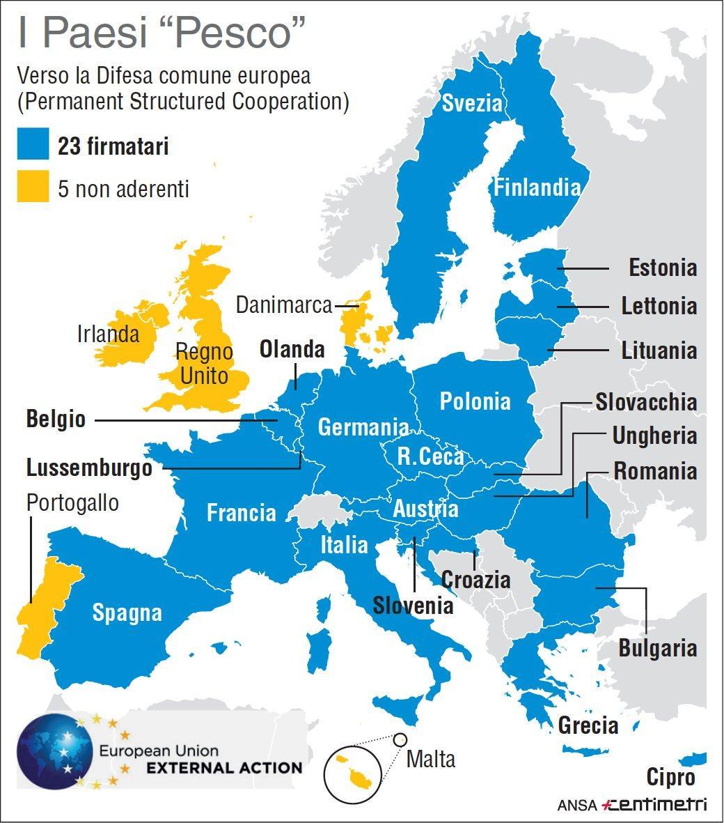 Difesa: i 23 Stati membri Ue che hanno aderito alla Pesco