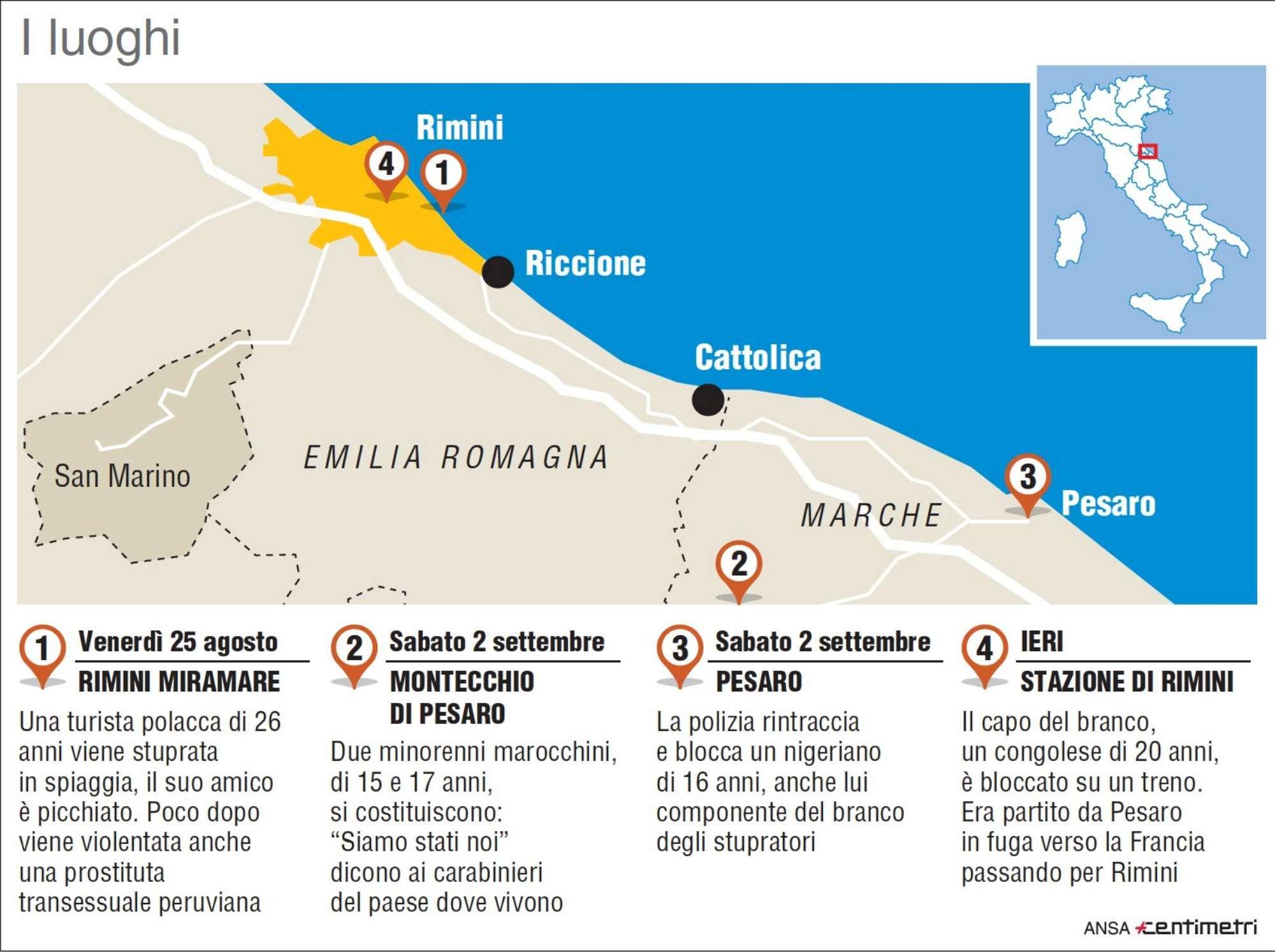 Stupri Rimini, la mappa della fuga del branco