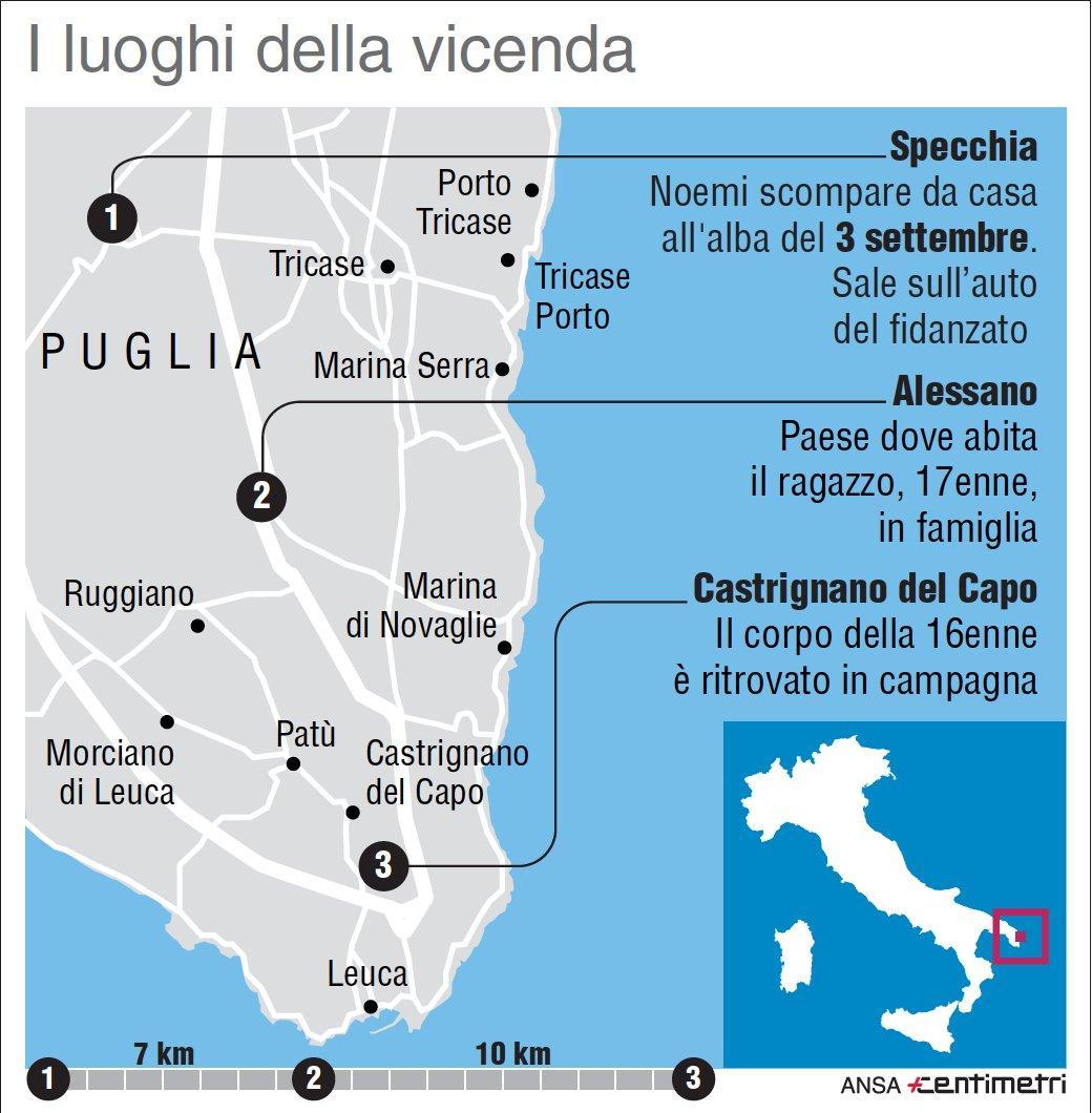 Giovane scomparsa nel Leccese: i luoghi frequentati da Noemi