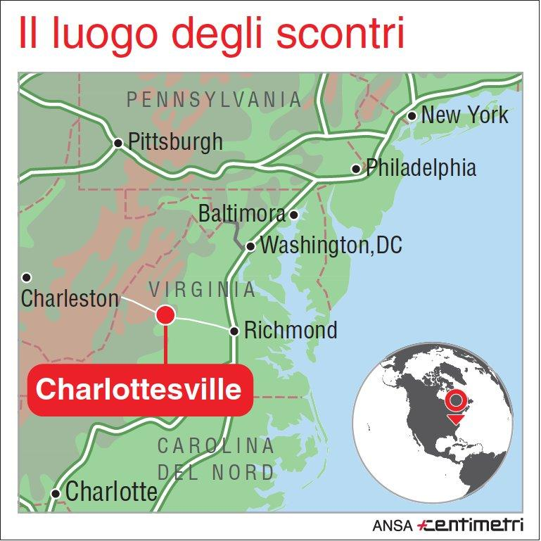 Virginia, scontri a Charlottesville: 3 morti e oltre 30 feriti