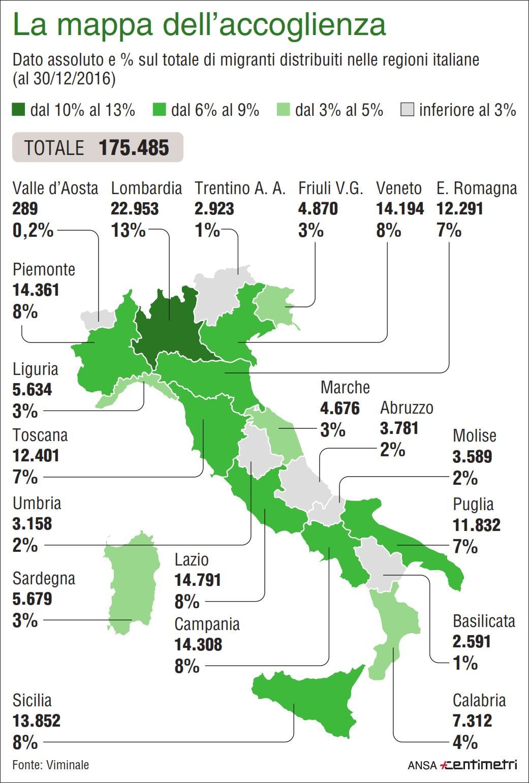 Migranti, la mappa dell accoglienza in Italia