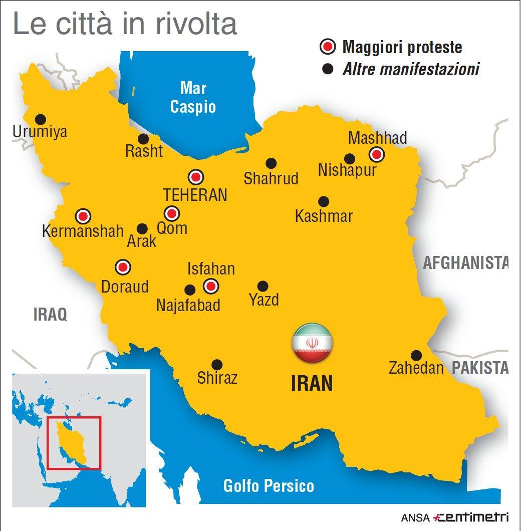 Proteste in Iran, le città in rivolta
