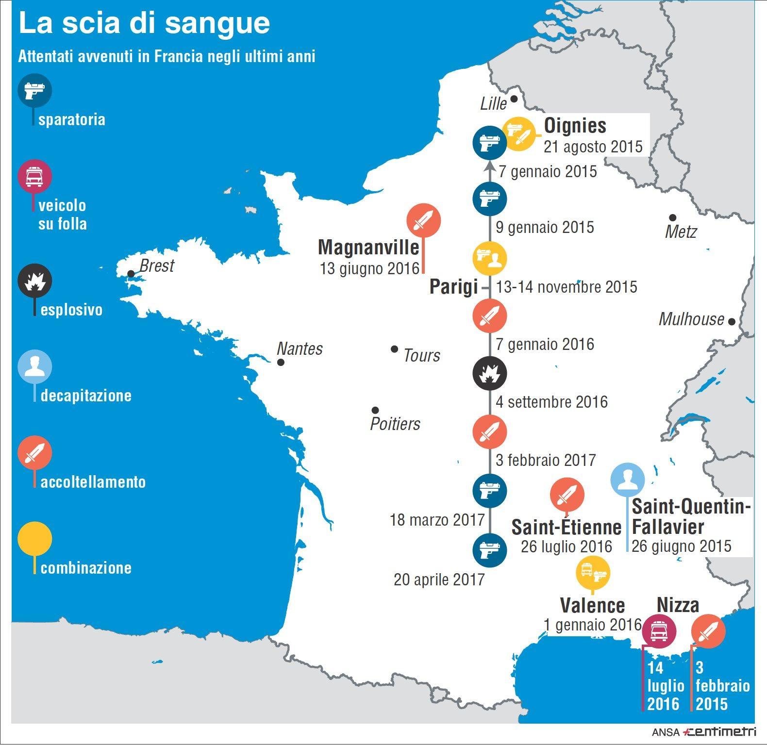 Attentati, la scia di sangue su tutta la Francia