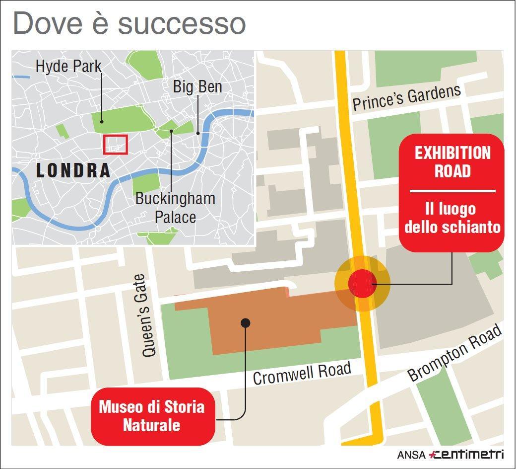 Auto contro i pedoni a Londra: la mappa