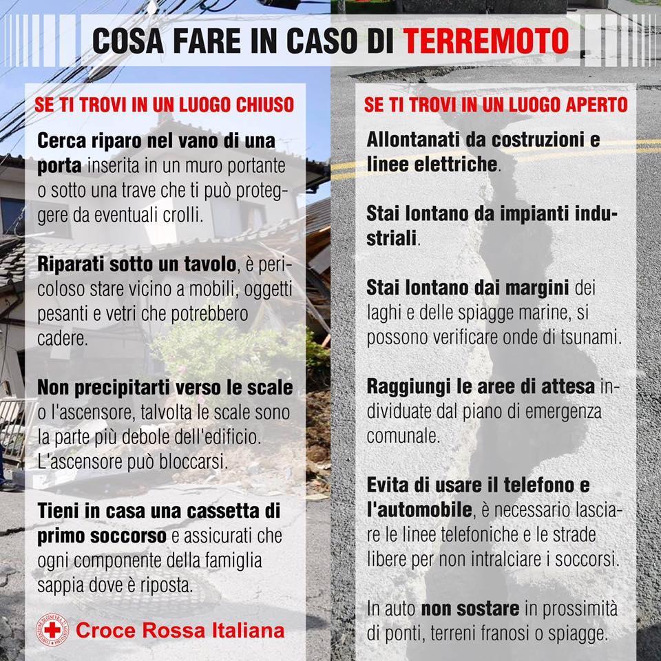 Cosa fare in caso di terremoto: i consigli della Croce Rossa