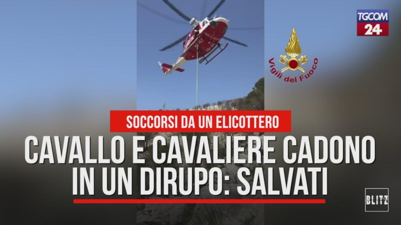 Elicottero 007 : Frosinone finiscono in un dirupo: cavallo e cavaliere recuperati in