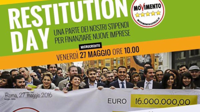 Restitution Day , il M5s destina 16 milioni al fondo per il microcredito