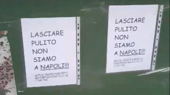 Pordenone, cartello shock sui cassonetti dei rifiuti: