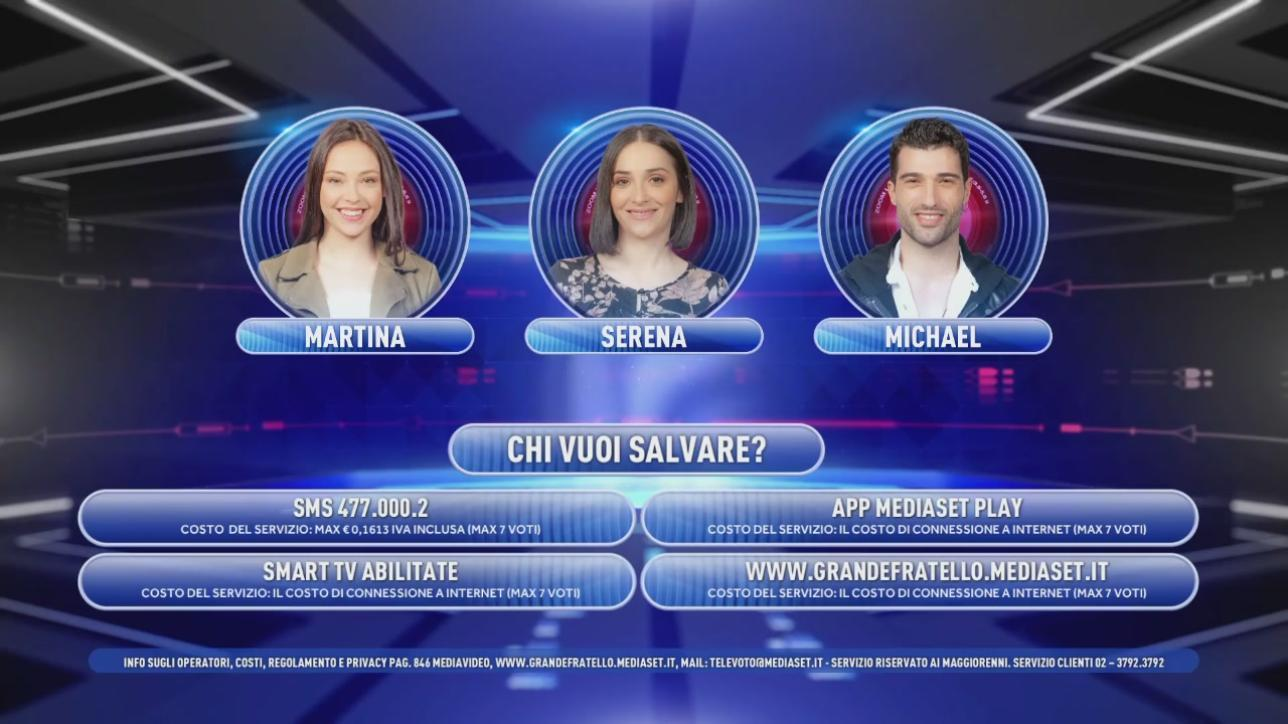 """Grande Fratello 16"", Martina, Serena e Michael sono in nomination"