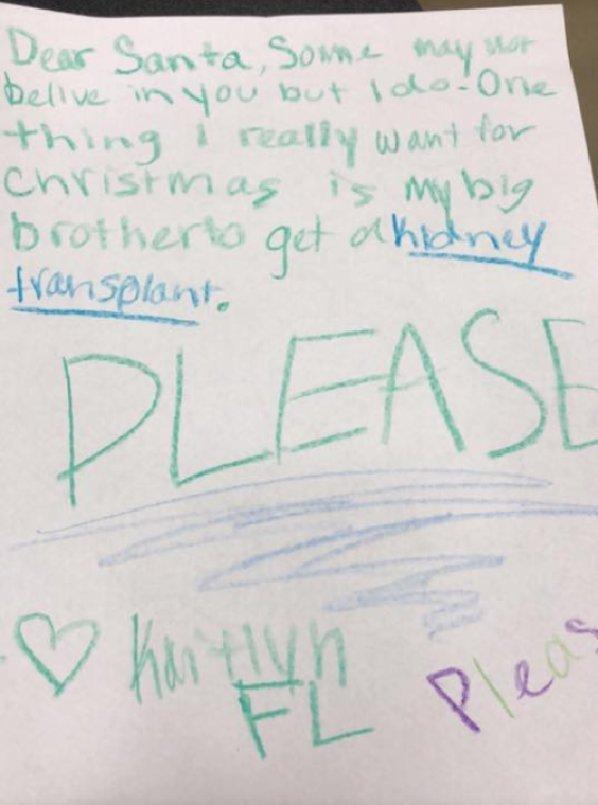 caro babbo natale vorrei un rene per mio fratello, la lettera della piccola kaitlyn