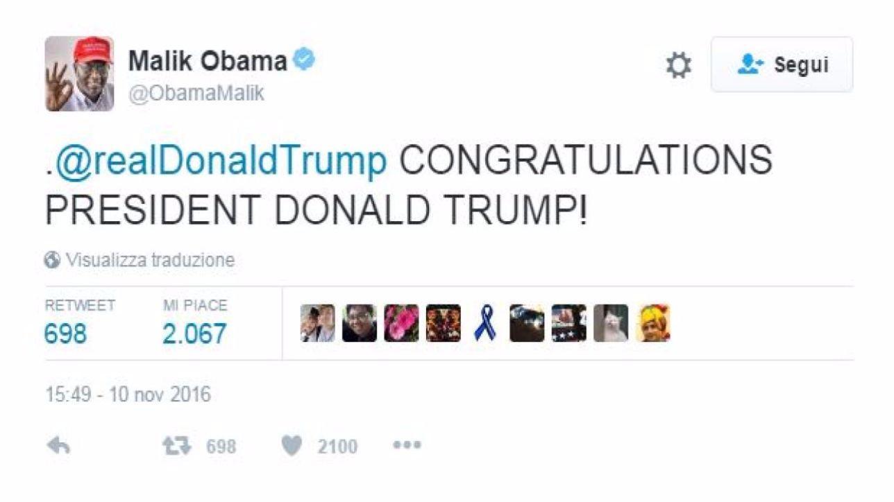 Il fratellastro di Obama, Malik, esulta: