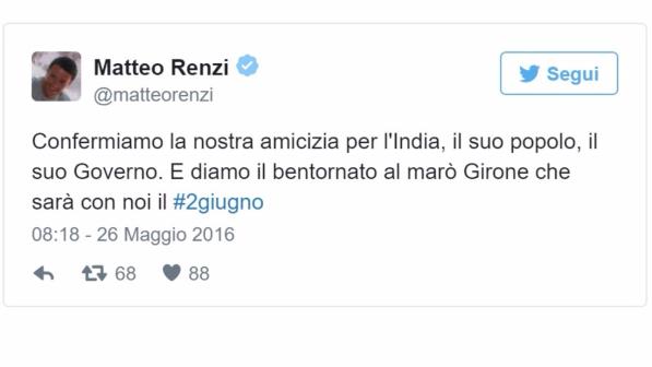 Mar Renzi Su Twitter Girone In Italia Il 2 Giugno