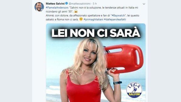 Pamela Anderson contro Salvini: