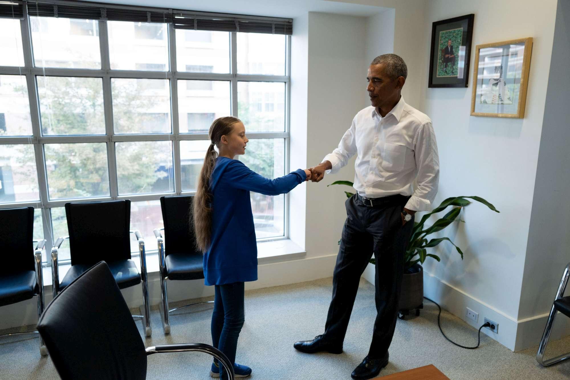 Usa, l ex Presidente Obama incontra Greta Thunberg:  A 16 anni uno dei più grandi difensori del pianeta