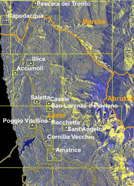 Sisma, le prime immagini dei danni viste dal satellite